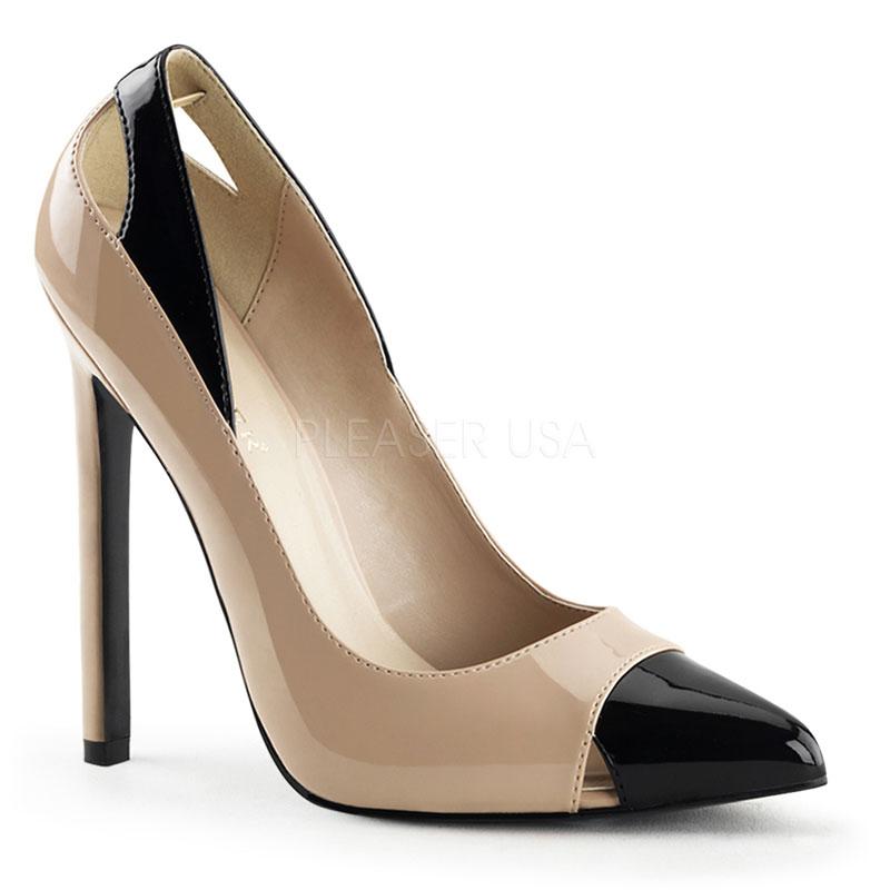 Escarpins coloris caramel et noir - Pointure : 36