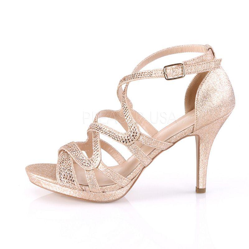 dccdab1a881a22 ... Sandale habillée dorée; chaussure habillée paillettes dorées; nu-pied doré  talon pas cher ...