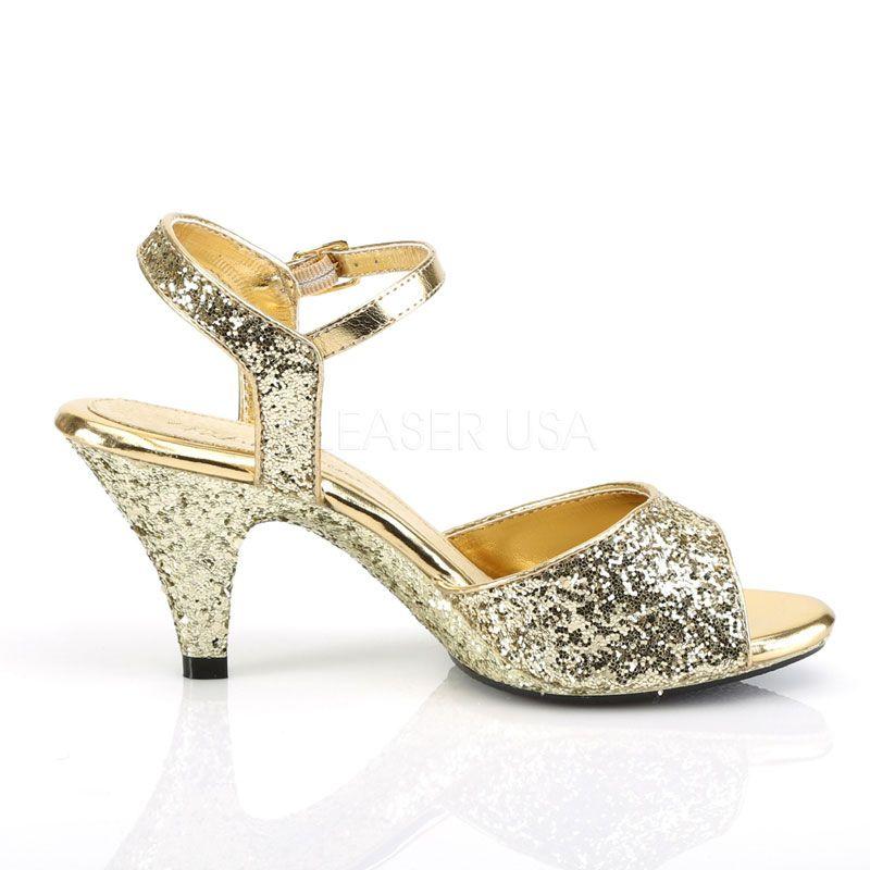 3bee18e9b9912 ... nu-pied dorés paillettes petit talon  porter des chaussures ...