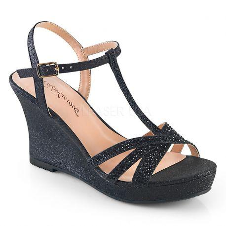b0394156f Porter sandale haute couture compensée strass noir