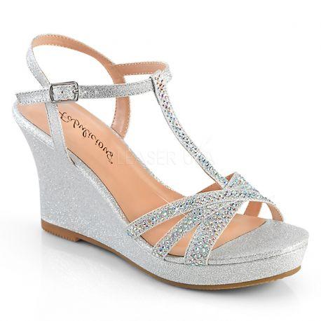 950e8b782 Chaussures compensées habillées sandales argentées