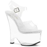 Sandales compensées transparentes