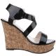 sandale noire semelle liège pas chère