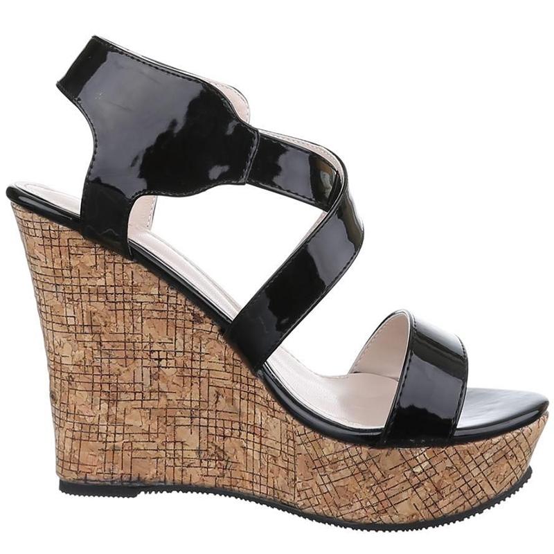 f17d73bfb65851 Nu-pieds compensés noirs vernis · sandale noire semelle liège pas chère ·  chaussure ...