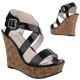 chaussure compensée sandale noire petit prix