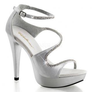 Sandale argentée à brides talon haut