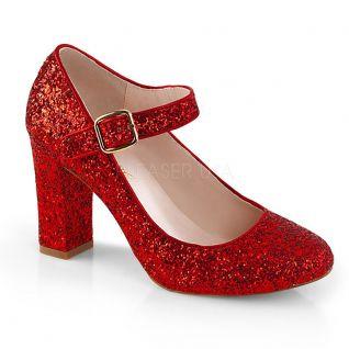 Escarpins à paillettes rouge petit talon