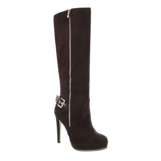 Botte marron faux zip