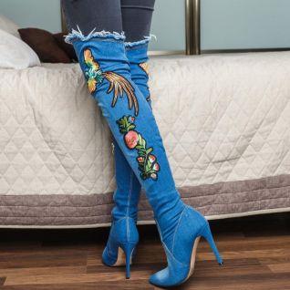 bottes genouillère en jean haut talon