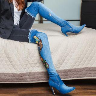 porter des bottes cuissardes en jean