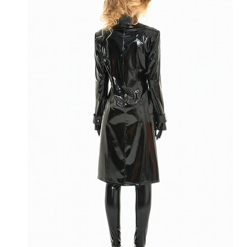 Porter Couture Vinyle Haute Noir Manteau Un Style rshQtd