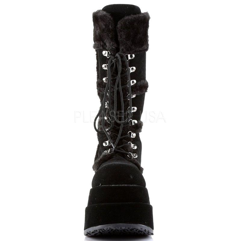 Acheter des gothique bottes style fourrées noires Rq435AjL