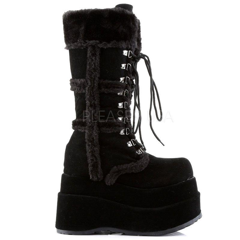 a0cec772723a Bottes gothiques fourrées noires · bear-202 · bottes chaudes noires ...