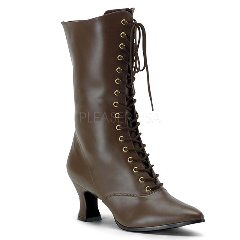 Bottines style rétro coloris maron - Pointure : 37