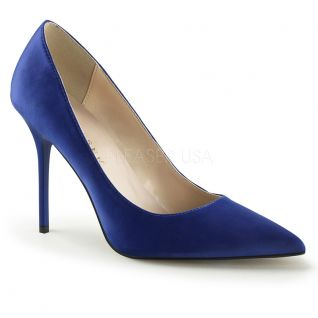 Escarpins bout pointu coloris bleu satin