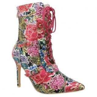 Bottines bout pointu floral