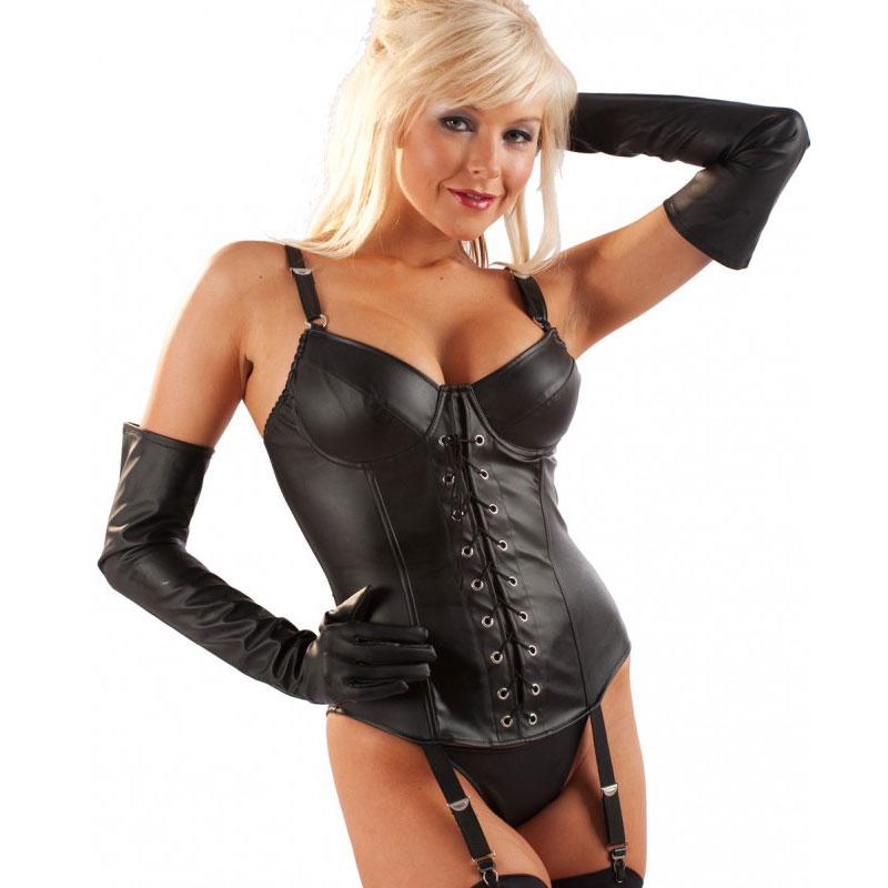 Gants simili cuir noir - Taille gants : M - Honour - Modalova
