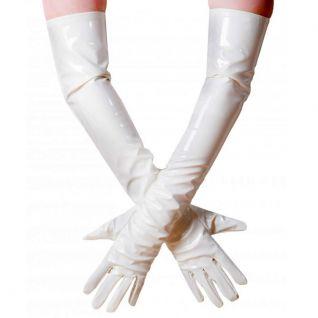 Gants longs vinyle blanc