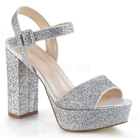 Sandale seventies argentée