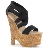 Sandale noire compensée liège