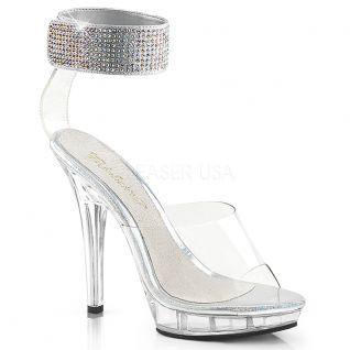 Chaussures de soirée sandales transparentes brides strass talon fin lip-142