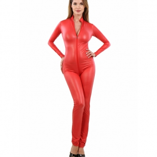 Catsuit wetlook rouge