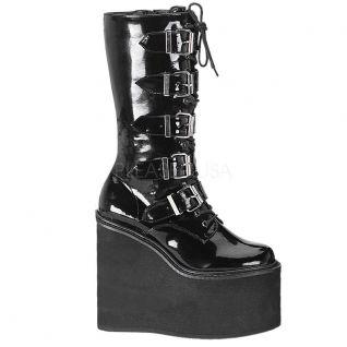 Chaussures gothiques botte vernie à bride talon compensé swing-220