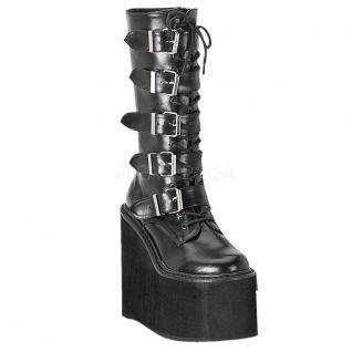 Chaussures gothiques bottes noires à lacet talon compensé swing-220