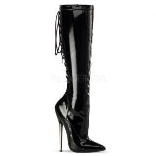 Chaussures bottes à lacet coloris noir vernis talon métal dagger-2064