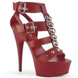 Sandales plateformes lanières rouge
