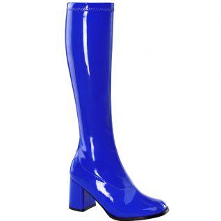 Bottes classiques bleu vernis talon large GOGO-300
