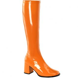 Bottes classiques orange vernis talon large GOGO-300