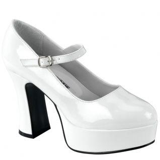 Chaussures escarpins gothiques blanches vernies plateforme maryjane-50