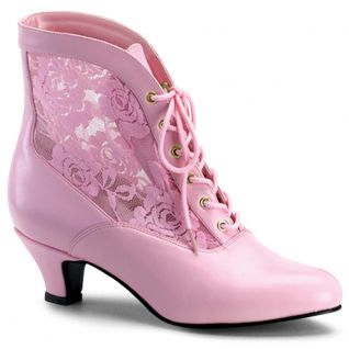 Bottines en dentelle rose petit talon dame-05