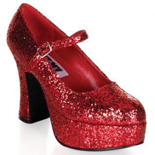 Chaussures escarpins à paillettes rouges talon plateforme maryjane-50g