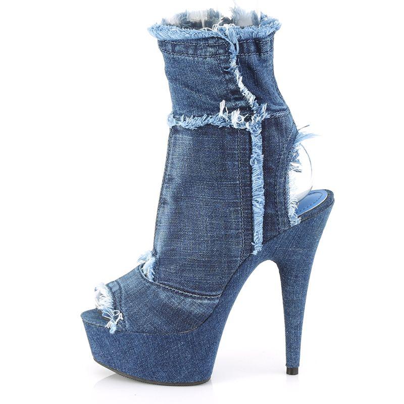 Chaussures en jean femme ♥ Bottine ouverte à talon