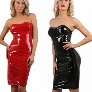 Robe dos-nu en vinyl rouge ou noire