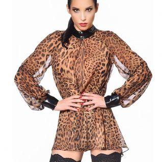 Chemisier léopard manche longue
