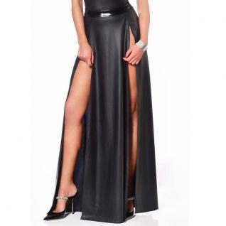 Jupe longue noire imitation cuir