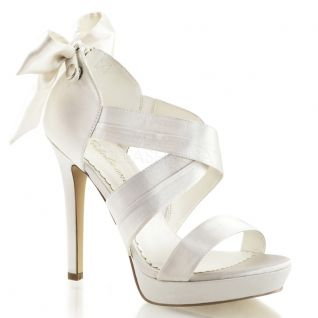 Sandale mariage satin ivoire haut talon