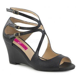 Sandale plateforme noire mat