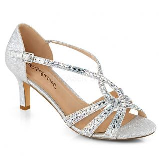Sandale habillée strass argent petit talon