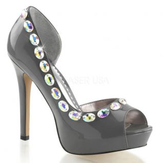 Escarpin original coloris gris talon haut