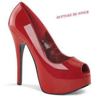 Escarpins Peep Toe coloris rouge vernis