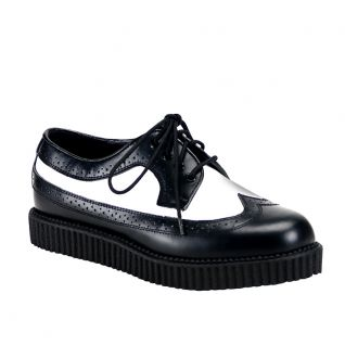 Chaussure rockabilly noire et blanche  Unisex Creepers : cuir