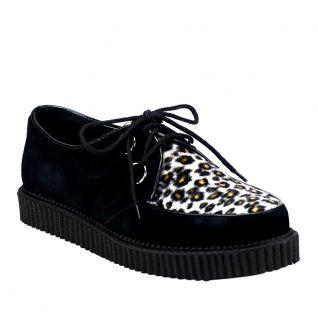 Chaussure punk coloris noir et léopard creeper-600 Demonia Unisex Creepers Leather