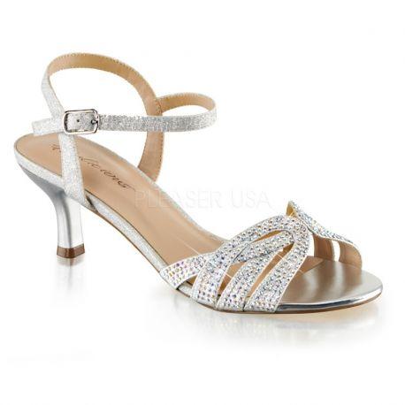 Sandale habillée strass argentés petit talon