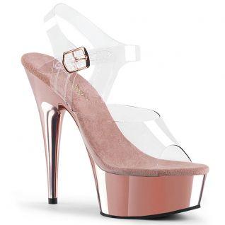 Sandales à brides rose chromée plateforme