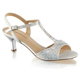 Sandale argentée bout ouvert paillettes