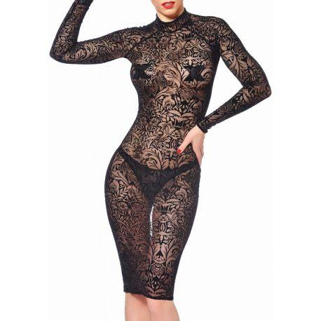 Robe transparente dentelle noire